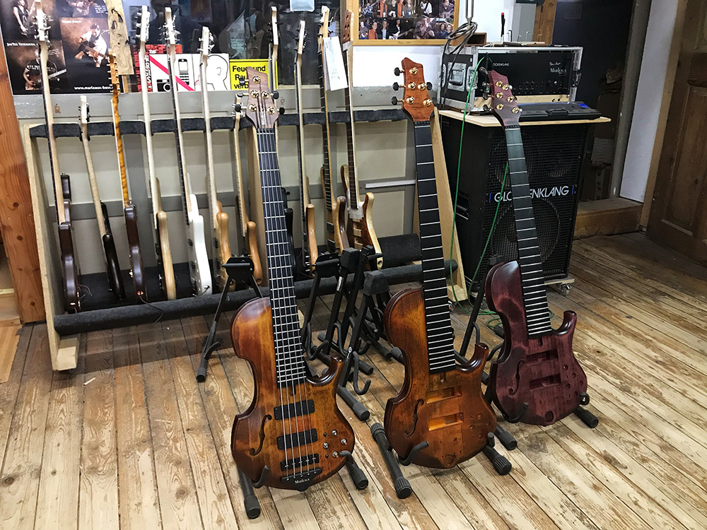 Three Contra basses waiting for final setup